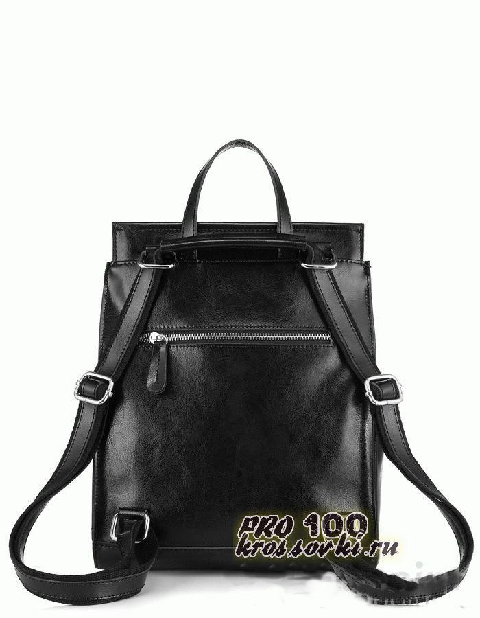 Кожаный черный женский рюкзак JMD Classic