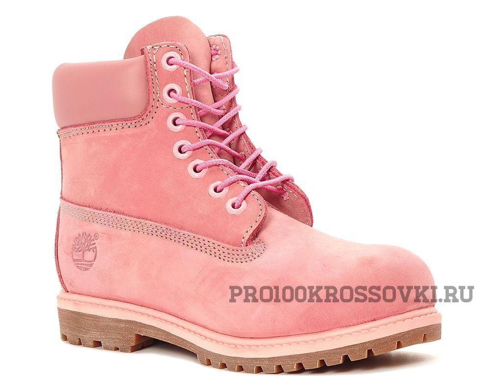 Женские Timberland 6 Inch Premium Waterproof Boots (Wheat Nubuck) розовые