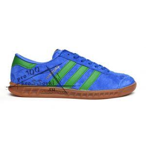 Adidas Hamburg Originals синие с зелеными полосами