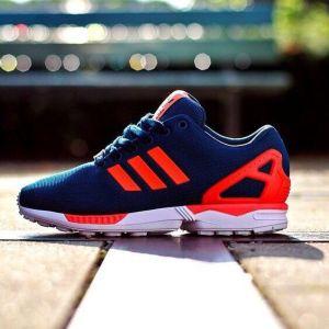 кроссовки Adidas ZX Flux Men синие с оранжевым