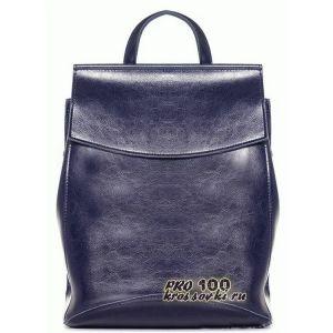 Кожаный женский рюкзак синий