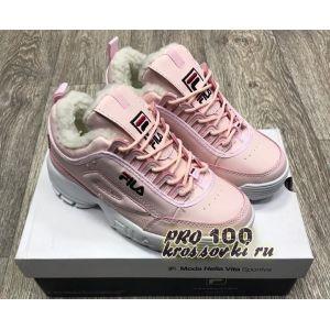 Зимние кроссовки Fila на меху розовые с белым