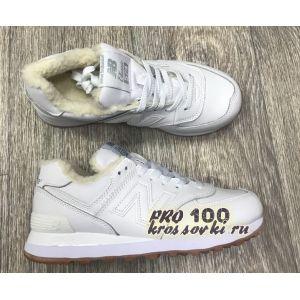 Зимние белые женские кроссовки на меху New Balance 574