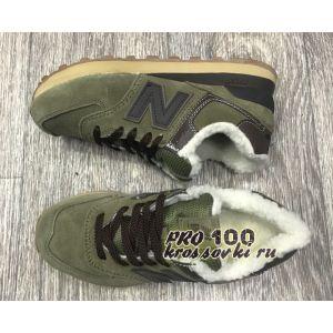 Зимние зеленые кроссовки на меху New Balance 574
