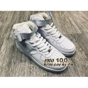 Зимние белые кожаные высокие Nike Air Force на меху