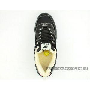 Кожаные кроссовки на меху New Balance 574 Black
