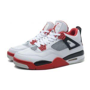 кроссовки Nike Air Jordan IV (4) Retro (белый/красный)