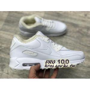 зимние кроссовки Nike Air Max 90 белые на меху