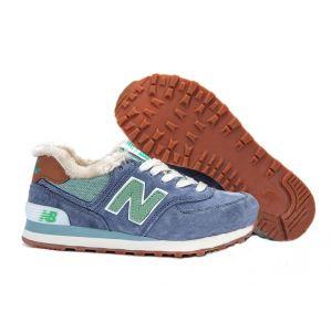 кроссовки New Balance 574 на меху синие с зеленым