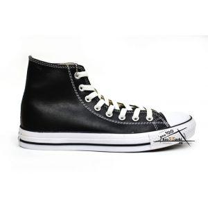 Converse кожаные высокие чернобелые