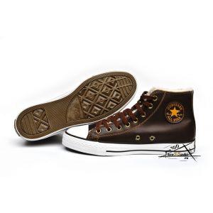 Кеды Converse зимние на меху коричневые