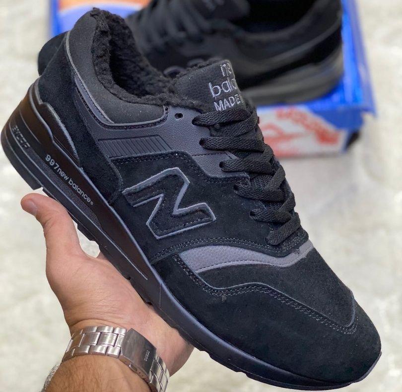 зимние кроссовки New Balance 990 на меху черные