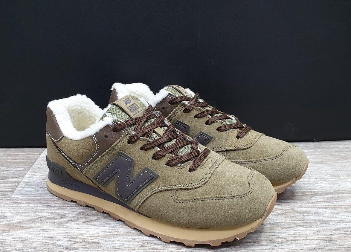 Зимние замшевые кроссовки на меху New Balance коричневые