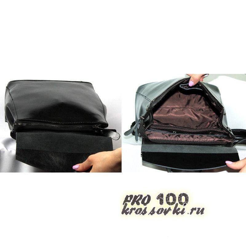 Кожаный женский рюкзак серебро