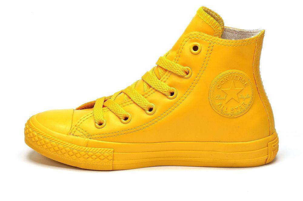 Кожаные кеды Converse высокие желтые
