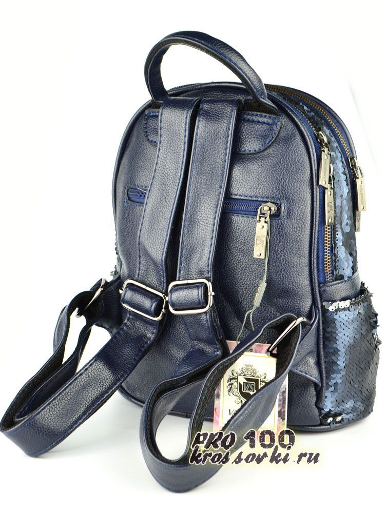 Рюкзак с пайетками-перевертышами темно-синий серебро