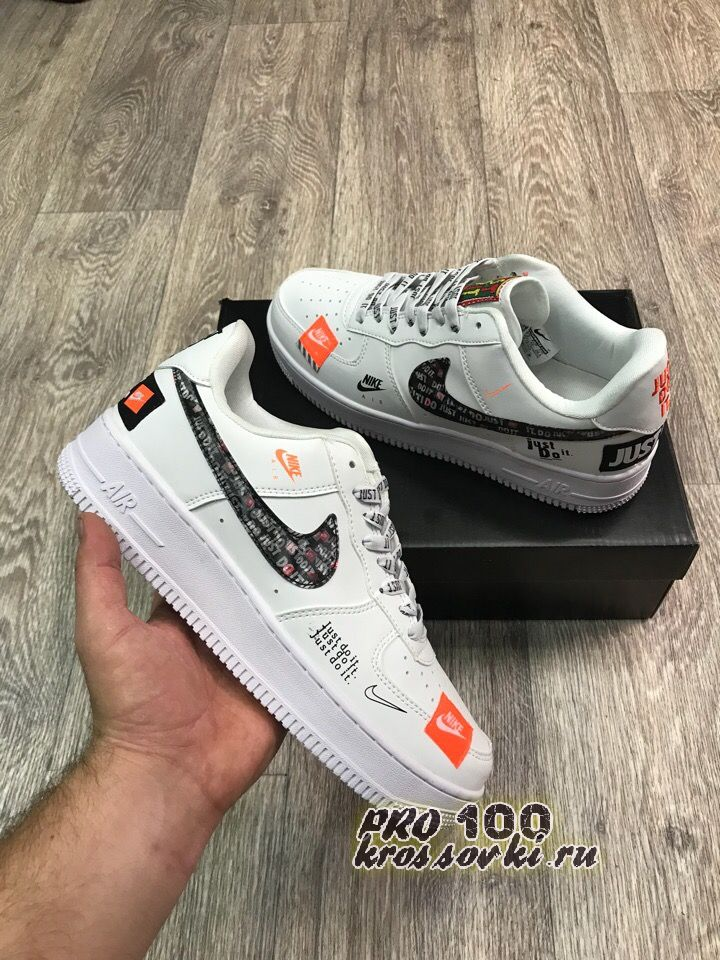 """Nike Air Force 1 '07 Premium """"JUST DO IT"""" IN WHITE"""