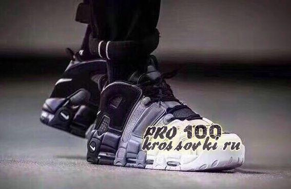 Кроссовки Nike Air More Uptempo черно -бело-серые