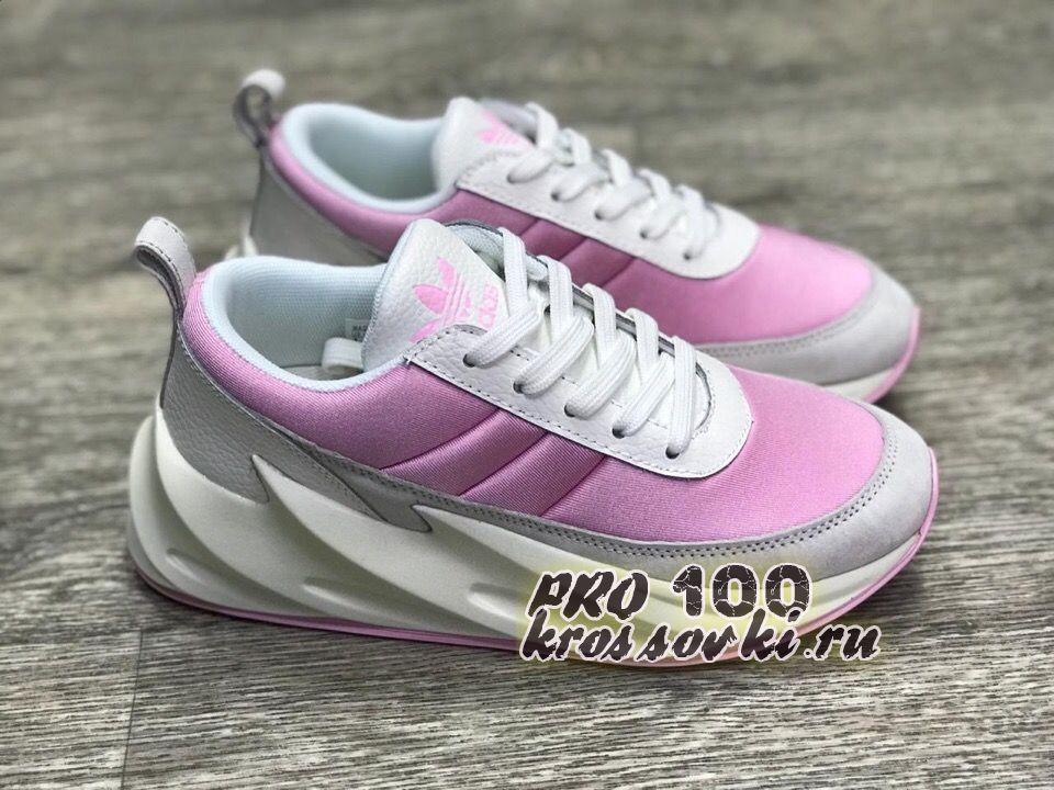 кроссовки Adidas Sharks бело-розовые женские