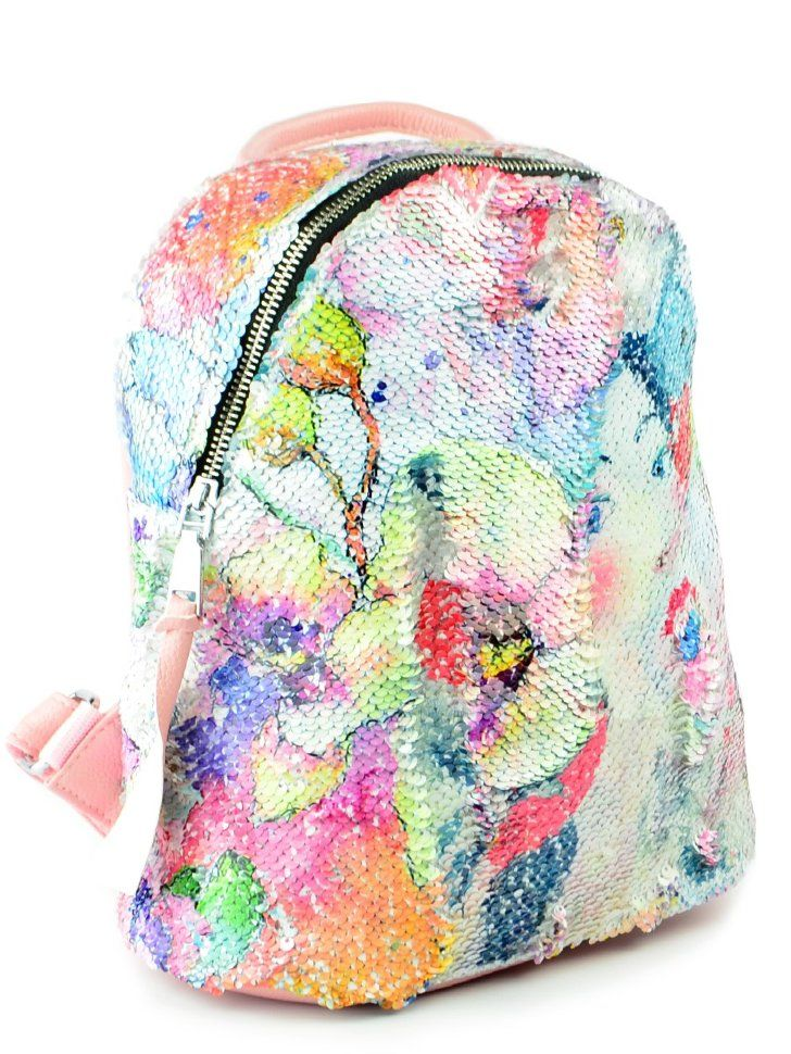 """Рюкзак с пайетками, меняющий рисунок """"Девушка и цветы"""""""