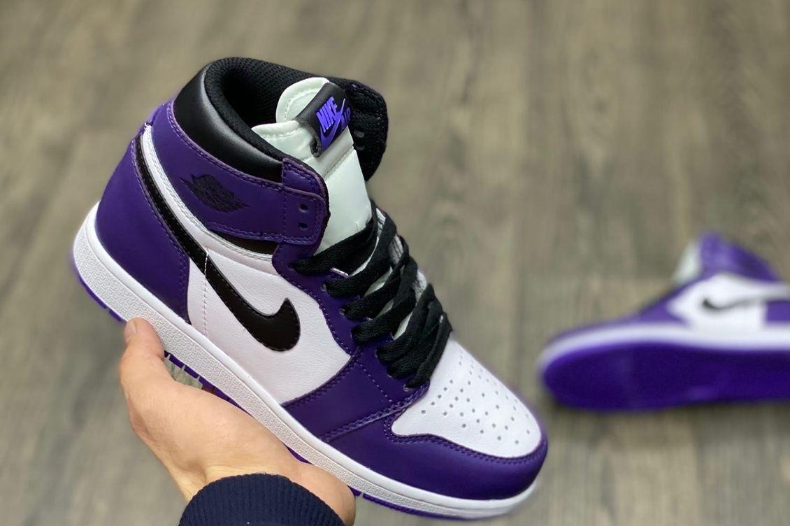 кроссовки AIR JORDAN 1 фиолетовые с белым