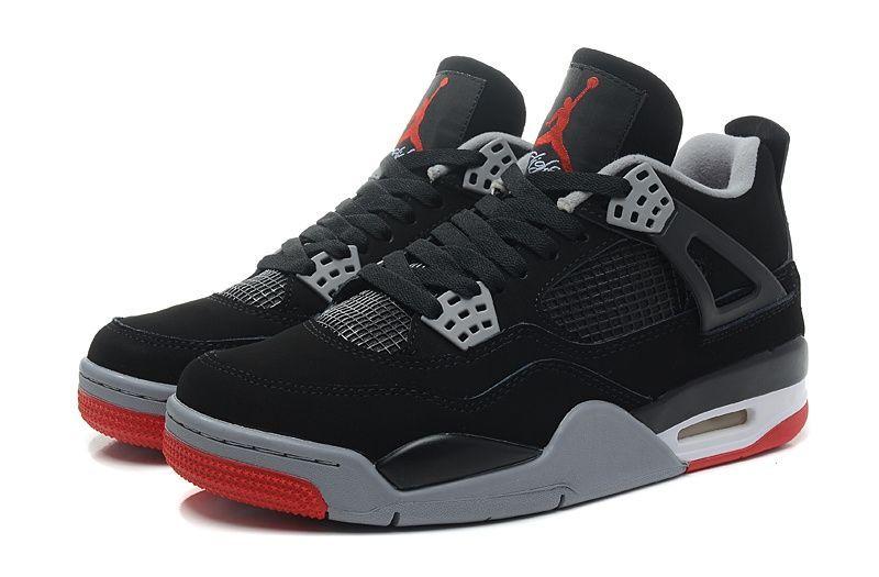 кроссовки Nike Air Jordan IV (4) Retro (черный/серый/красный)