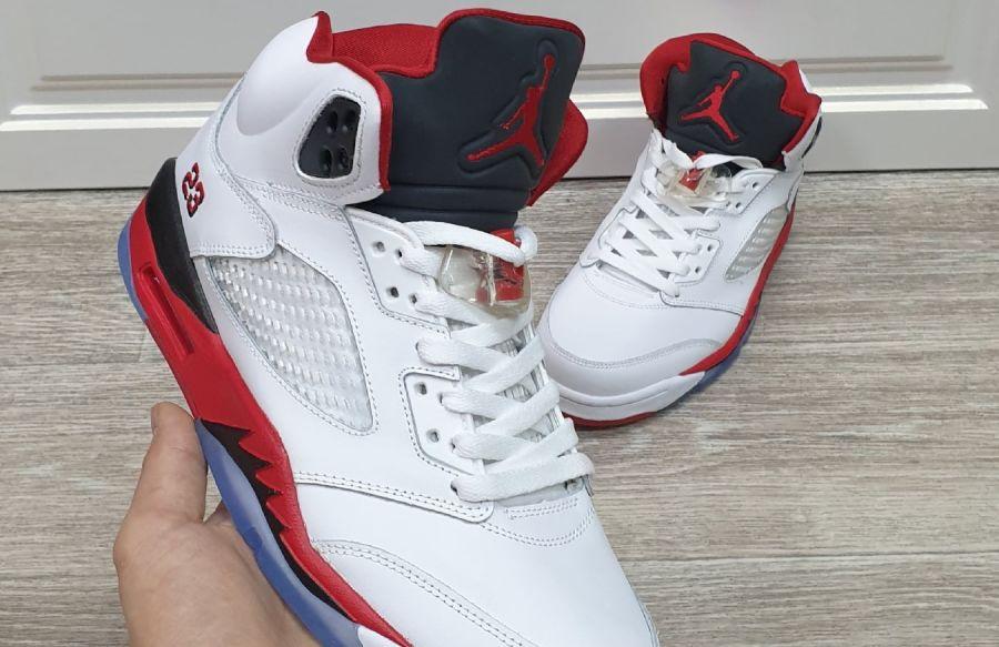 Jordan 5 Retro Fire Red Black Tongue
