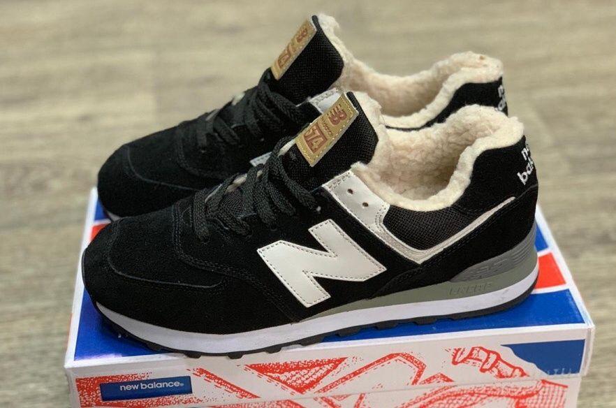 New Balance 574 зимние черные на меху