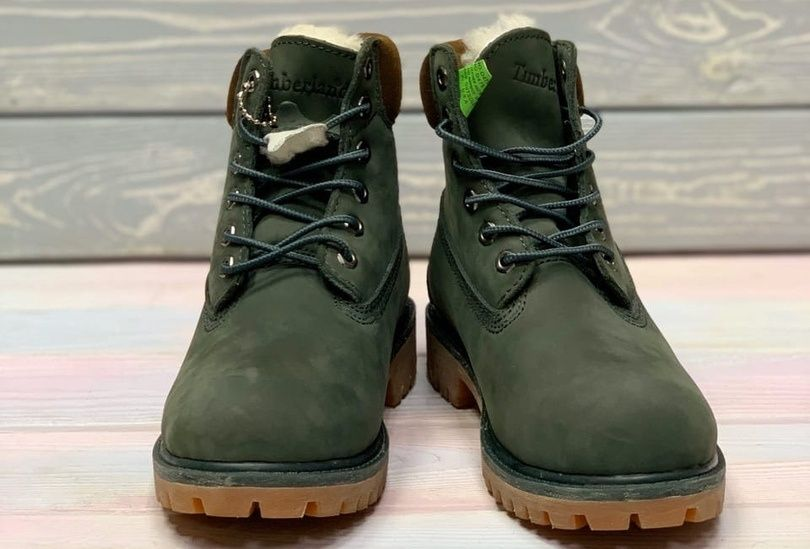 Timberland 6 Inch Premium Waterproof Boots Green на меху