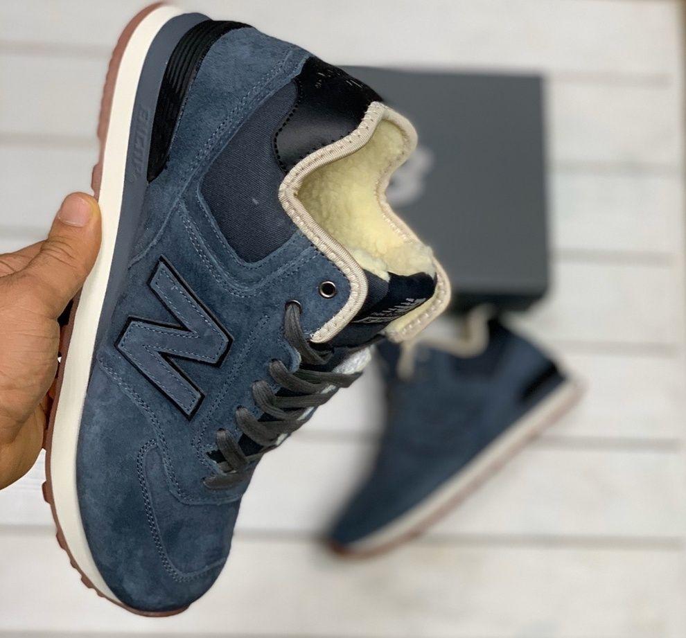 зимние кросовки New Balance 574 на меху серо-синие