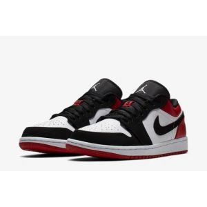 "Nike Air Jordan 1 Retro ""Black Toe"" Low Black/White/Red"
