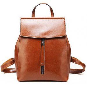 Кожаный женский рюкзак рыжий с передней молнией