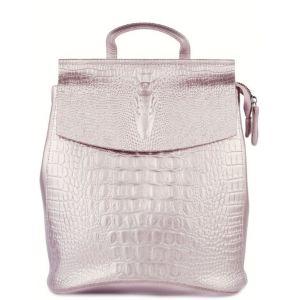 Кожаный женский рюкзак жемчужный