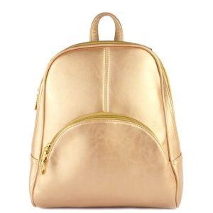 Кожаный женский рюкзак золотой KALEER Carry love ing