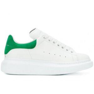 Белые женские кеды Alexander McQueen с зеленым