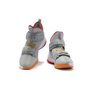Nike LeBron Soldier 13 Wolf Grey Red Men's Basketball Shoes