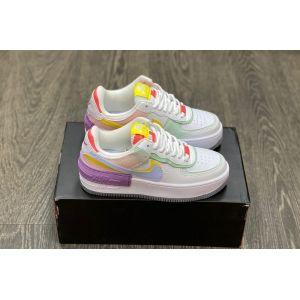 "Nike Air Force 1 Low ""Shadow"" White/Diamond Blue-Purple-Yellow"