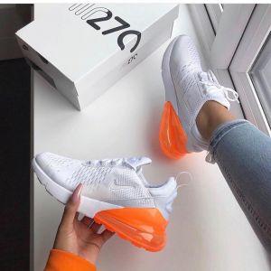 Кроссовки Nike Air Max 270 белые с оранжевым задником