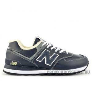 Кожаные кроссовки на меху New Balance 574 темно-синие