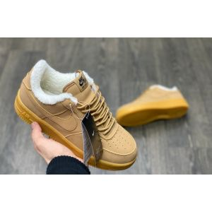 Зимние Nike Air Force на меху светло-коричневые