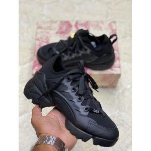 женские черные кожаные кроссовки Dior