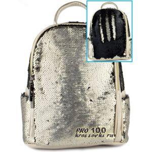 Рюкзак с пайетками серебряный -черный Valensiy