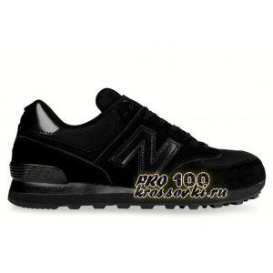 Замшевые черные кроссовки New Balance 574