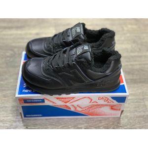 Черные кожаные зимние кроссовки New Balance 574