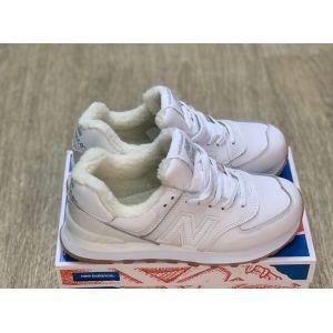 Зимние белые кроссовки на меху New Balance 574