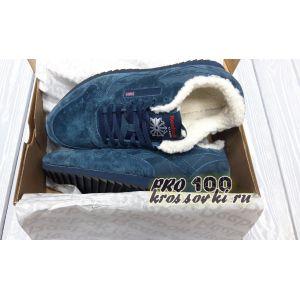 Зимние  кроссовки Reebok замшевые синие на меху