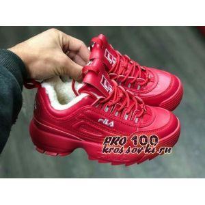 Зимние красные кроссовки Fila на меху