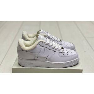 Зимние белые кожаные Nike Air Force на меху