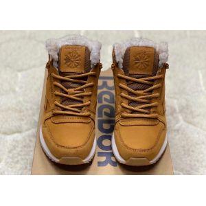 Кожаные высокие коричневые кроссовки Reebok на меху