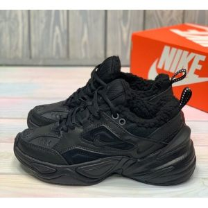 Зимние Nike M2K Tekno Triple Black на меху